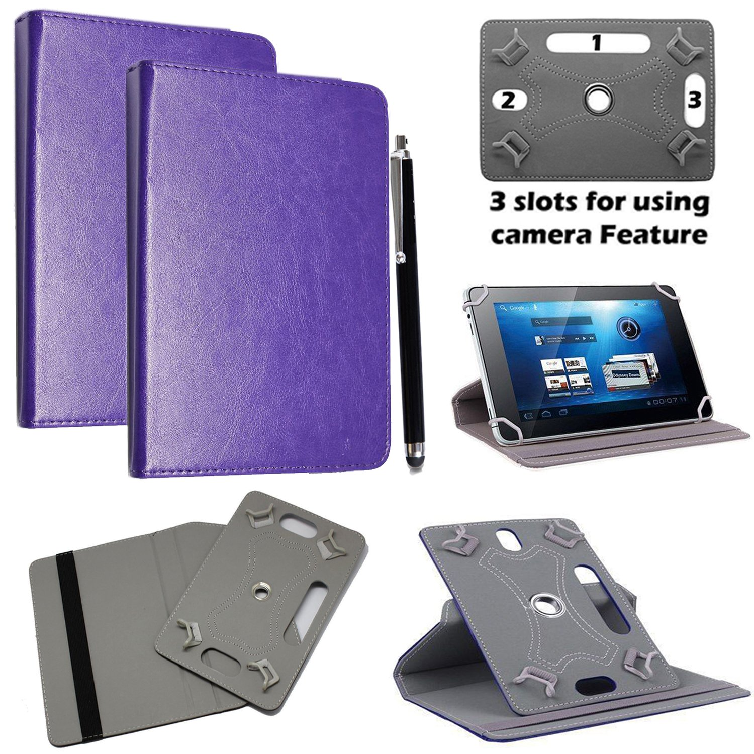 Stylus Pen Lenovo Acer Huawei Toshiba Tablets devices Sony Universal PU Leather 360/° Rotational Stand Folio Case Cover Fits All Samsung For 7 inch, Plain Purple Flip