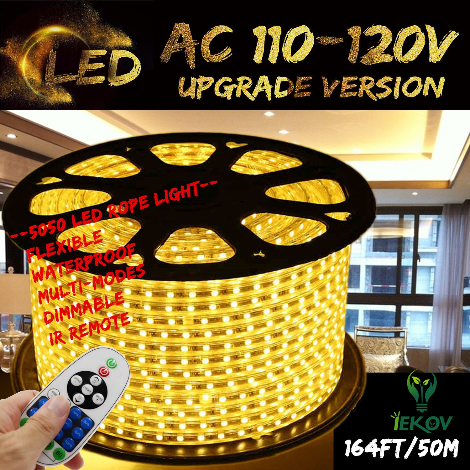 Warm White Color LED Strip Light, IEKOV™ AC 110-120V Flexible/Waterproof/Multi-Modes function/Dimmable SMD5050 LED Rope Light with Remote for Home/Office/Building Decoration (164ft/50m) by IEKOV