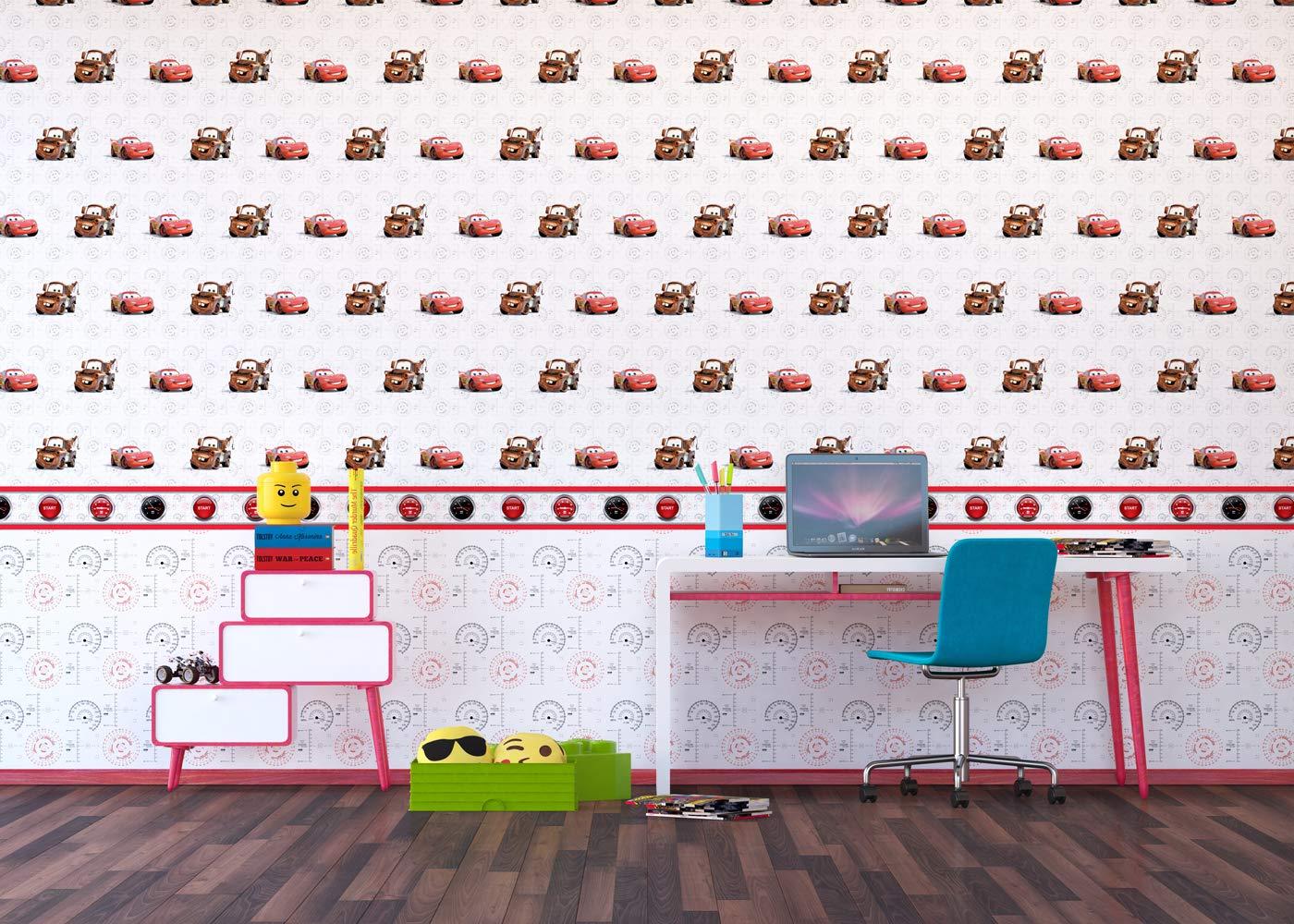500 x 14 cm AG Design Disney Cars Wand Sticker Selbstklebende Folie Mehrfarbig