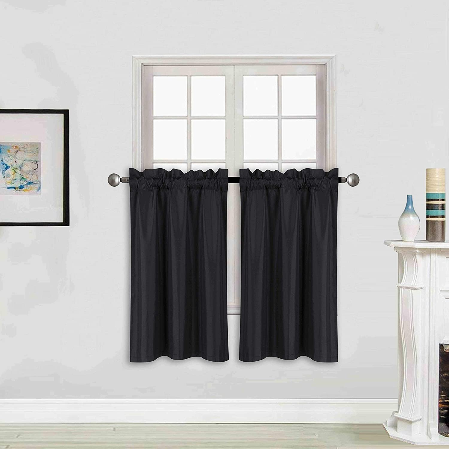 "Better Home Style 100% Blackout 2 Panels Tiers Window Treatment Curtain Insulated Drapes Short Panels for Kitchen Bathroom or Any Small Window M3024 (Black, 2 Panels 28"" W X 24"" L Each)"