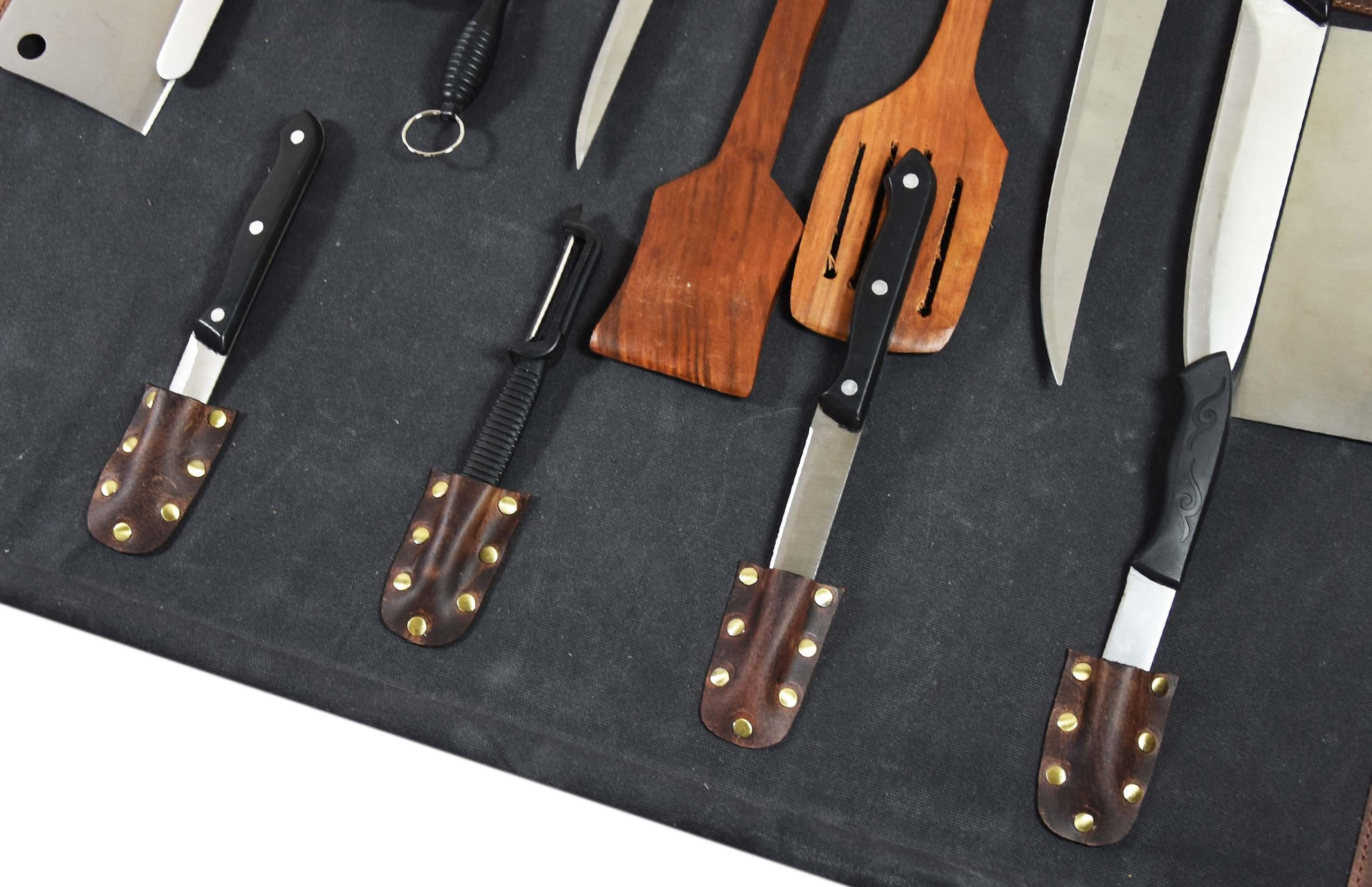 Leather Knife Roll Chef Roll Storage Bag Aaron Leather (Fossil Grey) by Aaron Leather (Image #5)