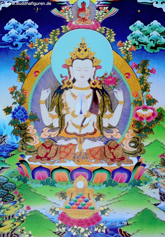 Amazon.de: Thangka Chenrezig Avalokitesvara Kunstdruck im ...
