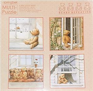 Springbok Bears Repeating 4 Mini Jigsaw Puzzle In 1 Box