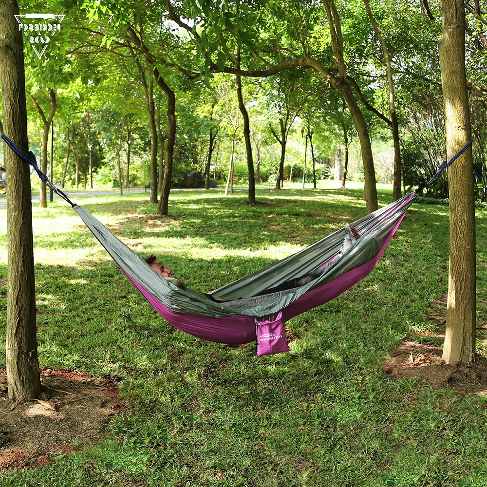 Nylon Hammock Swing Support 400lbs Ropes Carabiners 11 Colors Forbidden Road Hammock Single Double Camping Lightweight Portable Parachute Hammock for Outdoor Hiking Travel Backpacking