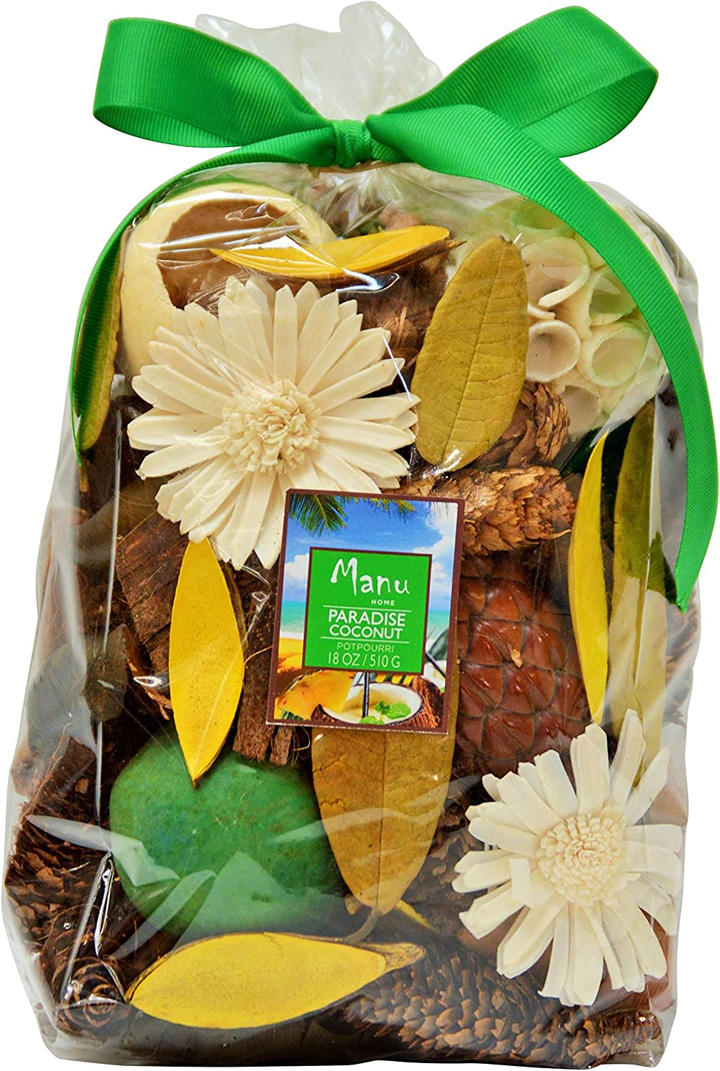 Manu Home Paradise Coconut Potpourri Bag ~ The Scent is a Soft Blend of Coconut and Vanilla ~ Proudly Made in The USA