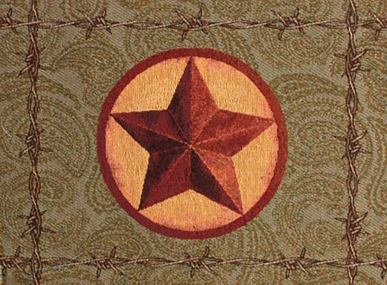 """Unique & Custom {12.5'' x 18'' Inch} Single Pack of Rectangle """"Non-Slip Grip Texture"""" Large Table Placemat Made of Washable Cotton & Polyester w/ Country Western Star Design [Colorful Brown & Red]"""