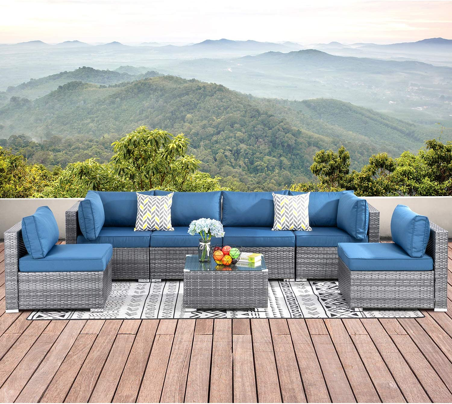 SUNLEI 7pcs Patio Outdoor Furniture Sets Conversation Set,Low Back All-Weather Rattan Sectional Sofa with Tea Table&Washable Couch Cushions(Silver Rattan)(Aegean Blue)