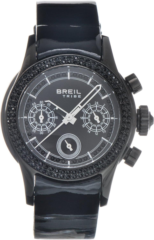 Breil TW0505 - Reloj analógico de mujer de cuarzo con correa de piel negra
