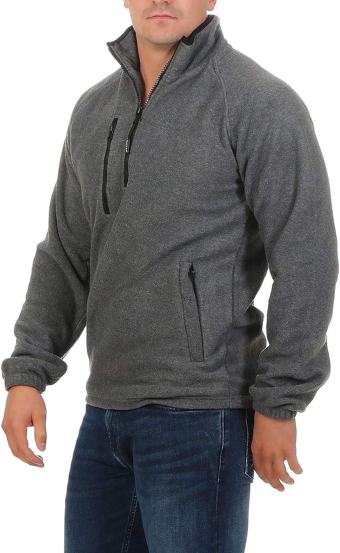 Mivaro Herren Fleecepullover mit Taschen und Rei/ßverschluss