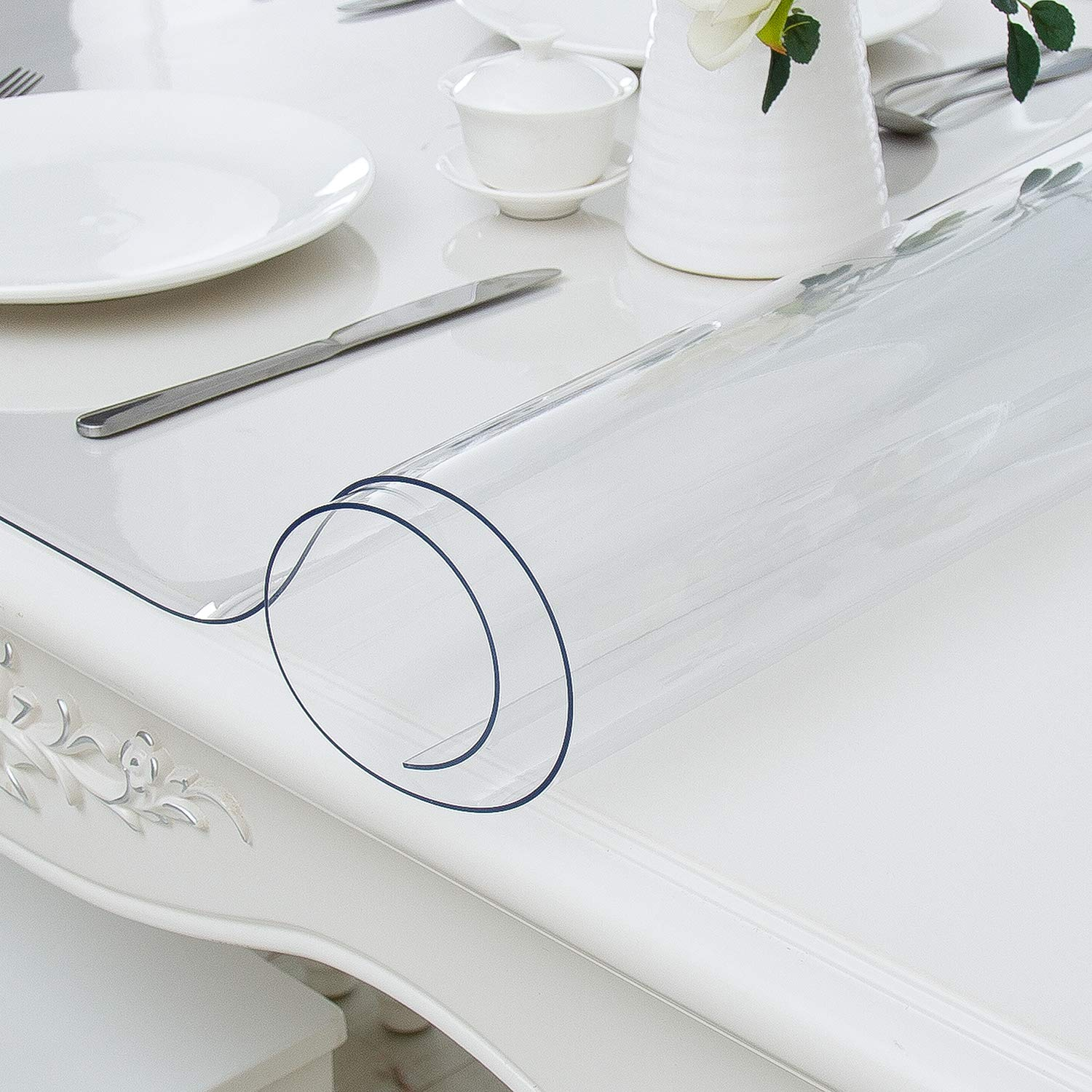 Hewaba Home Rectangle PVC Table Protector - 24 x 48 Inches, 2mm Thick Custom Clear Waterproof Plastic Tablecloth, Kitchen Dining Room Wooden Furniture Protective Cover