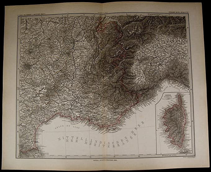 Detailed Map Of Southern France.Southern France Corsica Marseille Montpelier Mais 1880 Fine Old