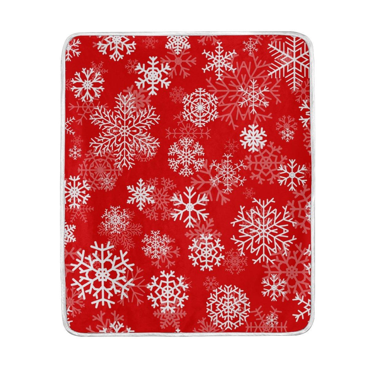 Alazaクリスマス雪片赤毛布Luxury Throw PersonalizedスタイリッシュFuzzyソフト暖かい軽量毛布ベッド用Counch All Seasonユニセックス大人用メンズレディース男の子女の子50 x 60インチ B076WVRG1L