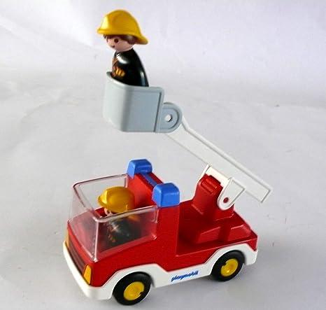 Playmobil 123 ® – Coche de bomberos, camión de bomberos, 2 bomberos, escalera y cesta: Amazon.es: Bebé