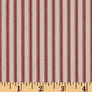 Magnolia Home Fashions Berlin Ticking Stripe, Yard, Red