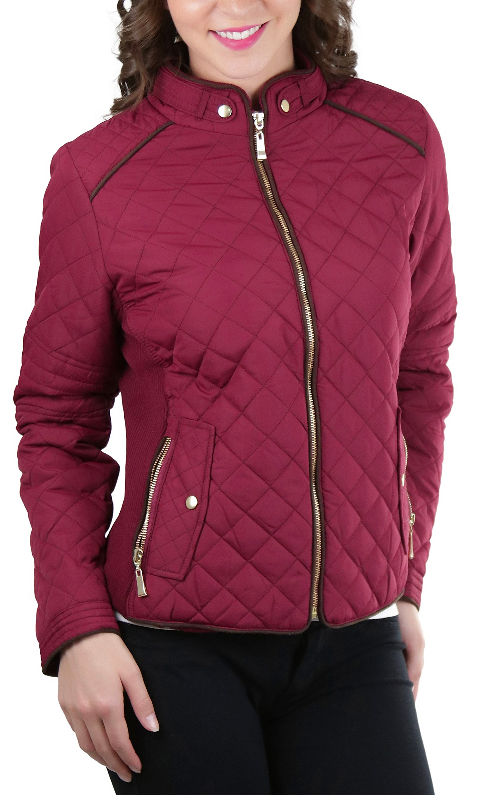 ToBeInStyle Women's Quilted Padded Jacket Suede Piping - Burgundy - Large