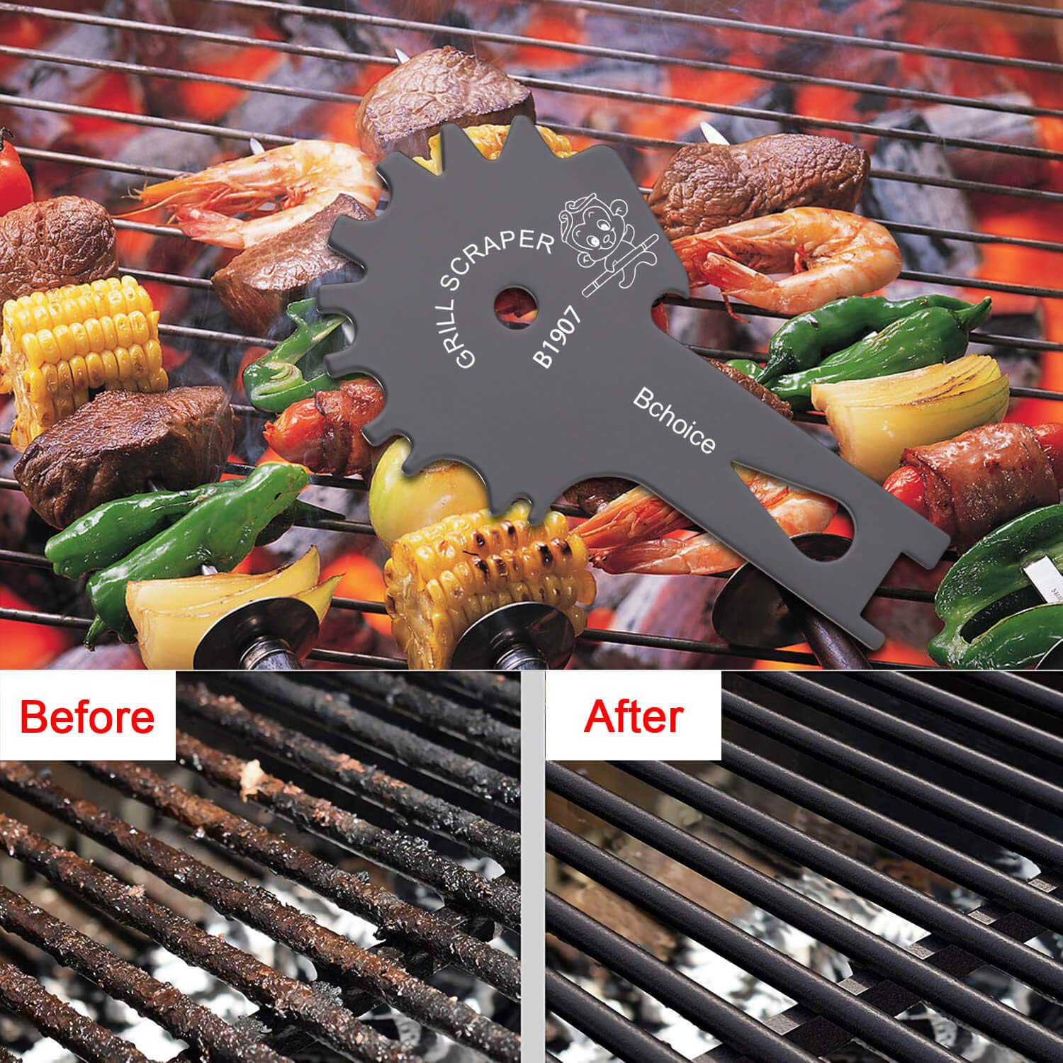 Bchoice Stainless Steel BBQ Grill Scraper Brushes- Grill Grate Scrapers Cleaner Barbecue Non-bristles Grill Brush Perfect BBQ Cleaning Tools - Works with Most Grill Grates, Grey