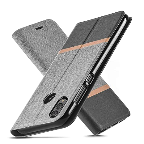 best deals on order half price Huawei Honor 8X Coque, Ultra Fin, béquille, Emplacement pour Carte, Coque  en TPU, Anti-Rayures, Flip Cuir PU Portefeuille Coque pour Huawei Honor 8X  ...
