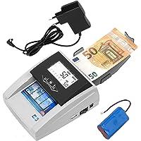 JeVx Maquina Detector y contador de Billetes Falsos Portatil 2 en 1 CON BATERIA RECARGABLE y Fuente de Alimentacion…