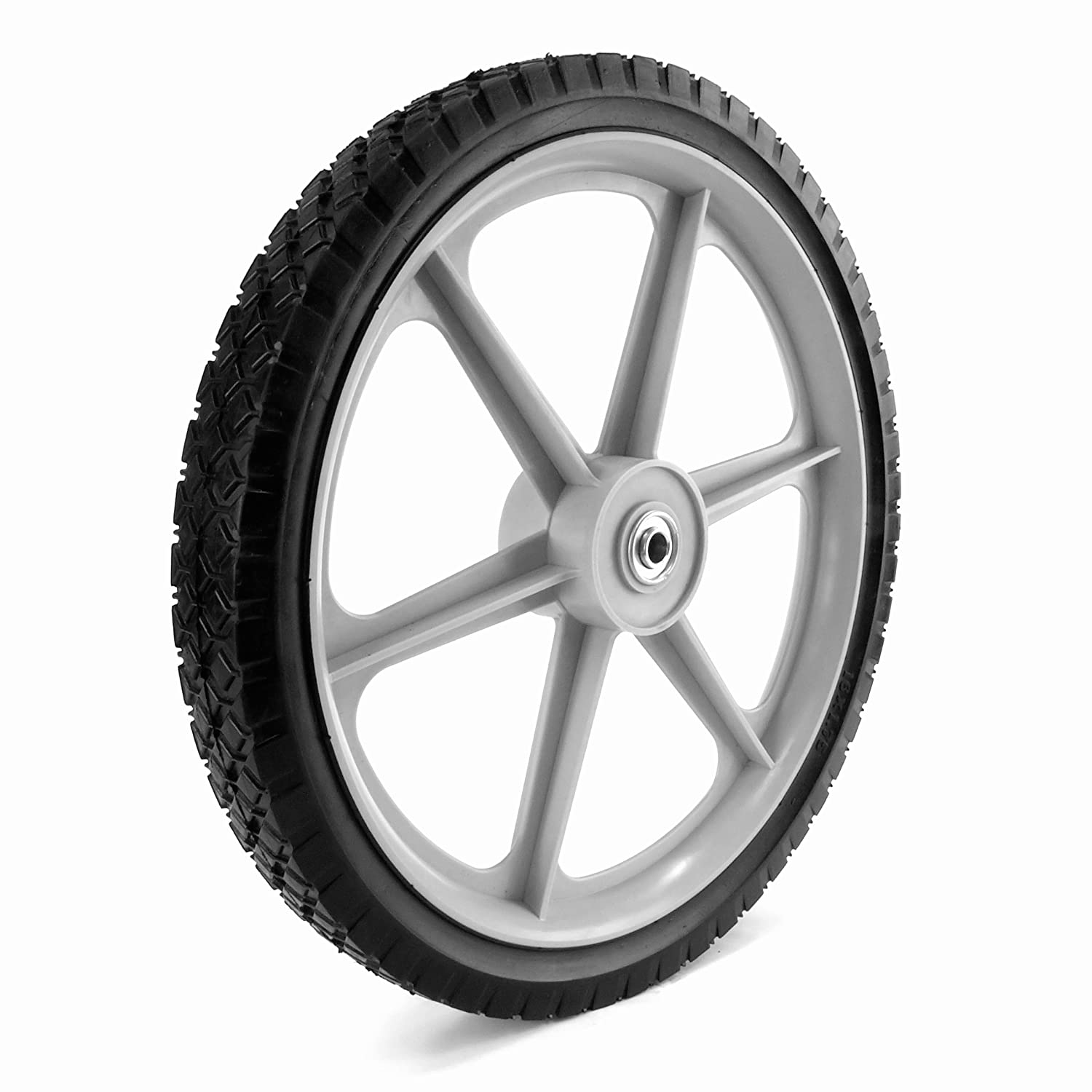 Martin Wheel PLSP16D175 16 by 1.75-Inch Plastic Spoke Semi-Pneumatic Wheel for Lawn Mower, 1/2-Inch Ball Bearing, 2-3/8-Inch Centered Hub, Diamond Tread