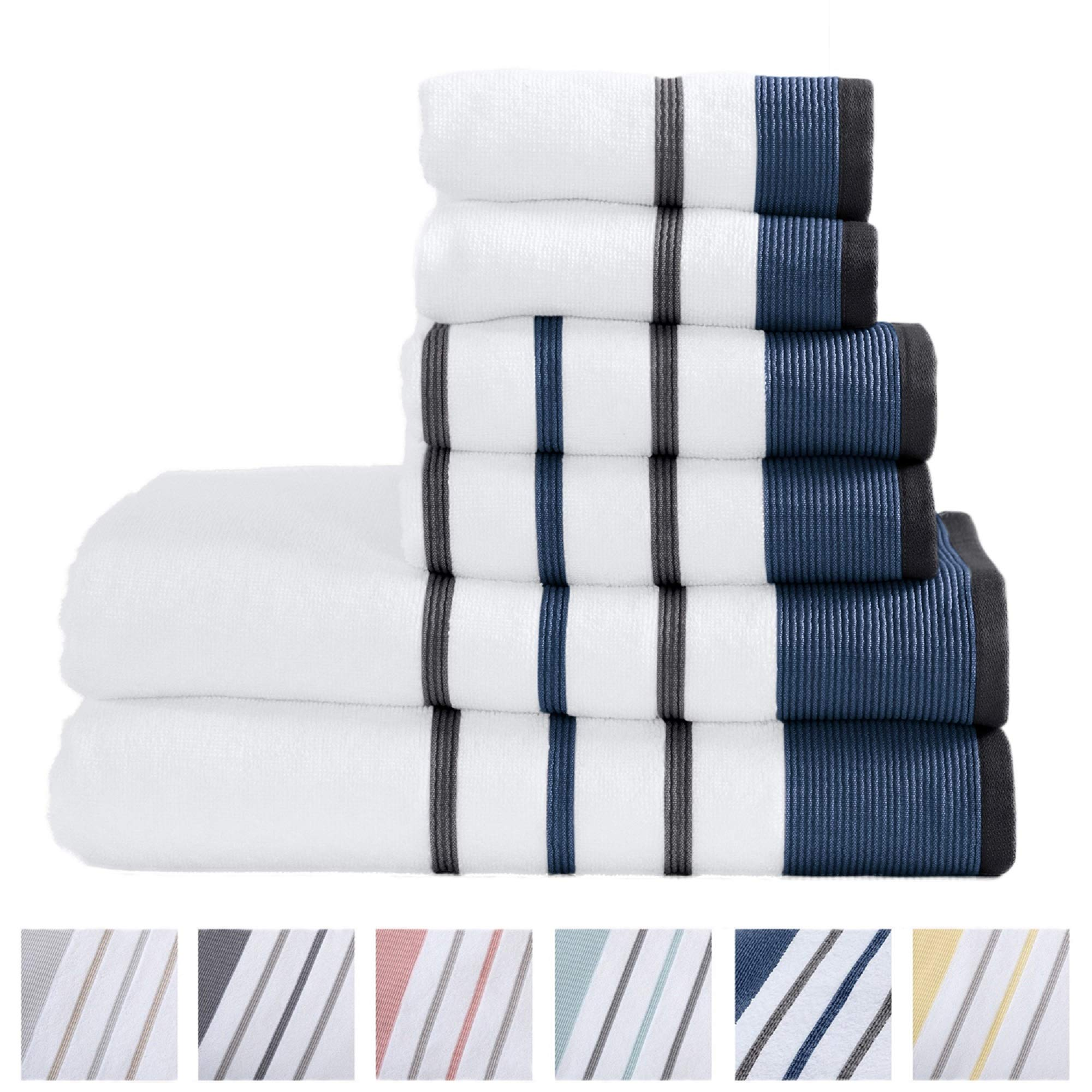 Great Bay Home 6-Piece Luxury Hotel/Spa 100% Turkish Cotton Striped Towel Set, 500 GSM. Includes Bath Towels, Hand Towels and Washcloths. Noelle Collection Brand. (Moroccan Blue/December Sky)