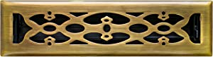 Accord AMFRABV212 Floor Register with Victorian Design, Fits 2-Inch x 12-Inch(Duct Opening Measurements), Antique Brass