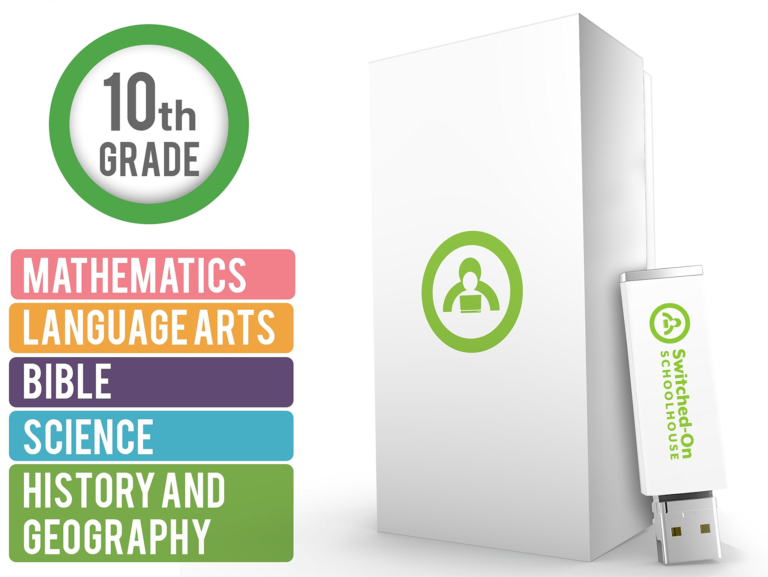 Switched on Schoolhouse, Grade 10, USB 5 Subject Set – Math, Language, Science, History, & Bible, 10th Grade Homeschool Curriculum by Alpha Omega