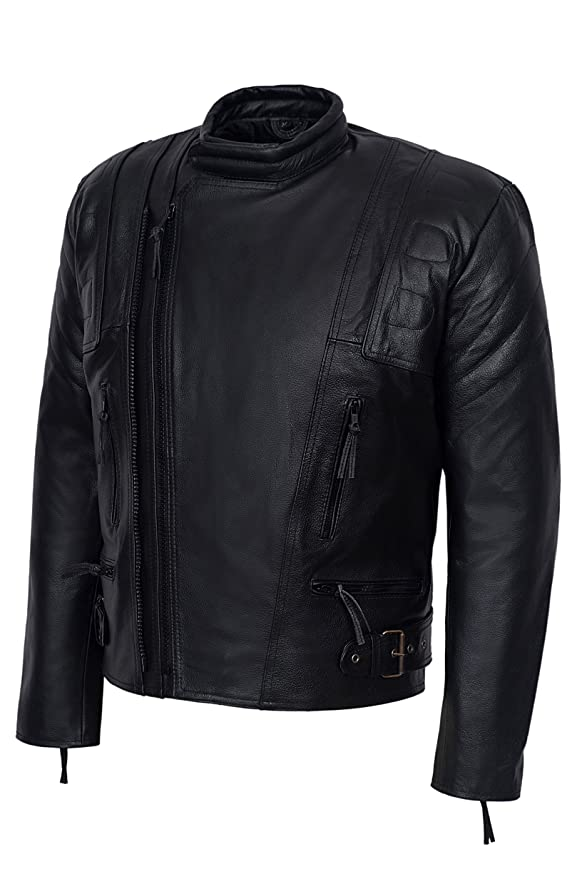 TERMINATOR 3 Mens BLACK Motorcycle Motorbike Cruiser Cowhide Leather Jacket at Amazon Mens Clothing store: