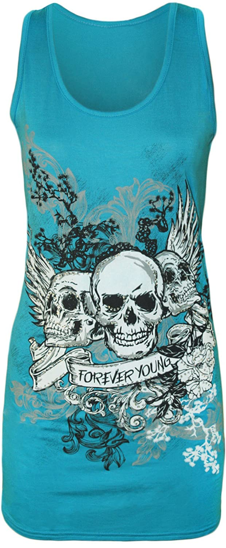 New Womens Danger Skull Sequin Fitted Vest Top 8-14 Turquoise, S