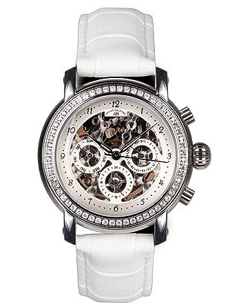 André Belfort 410141 - Reloj analógico de mujer automático con correa de piel blanca - sumergible a 50 metros: Amazon.es: Relojes