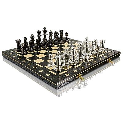 ARGENT STAUNTON 40cm / 16in en métal métallisé Staunton No.5 chiffres jeu d'échecs, échiquier en bois, métal chargé, jeu d'échecs