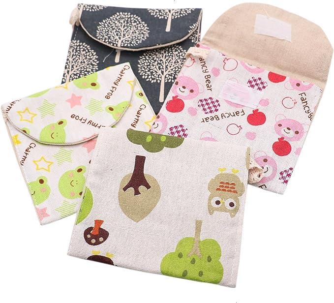 IDS bolsa para servilletas, bolsa para copa menstrual, soporte para almohadilla de lactancia, organizador de almacenamiento lavable, 4 unidades