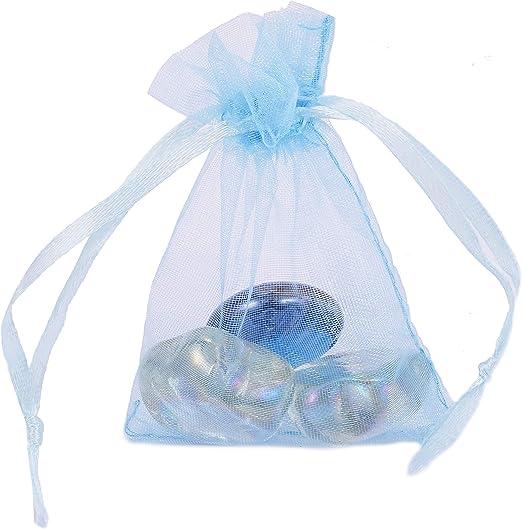 25 pieces Organza Bags 9x7cm Blue