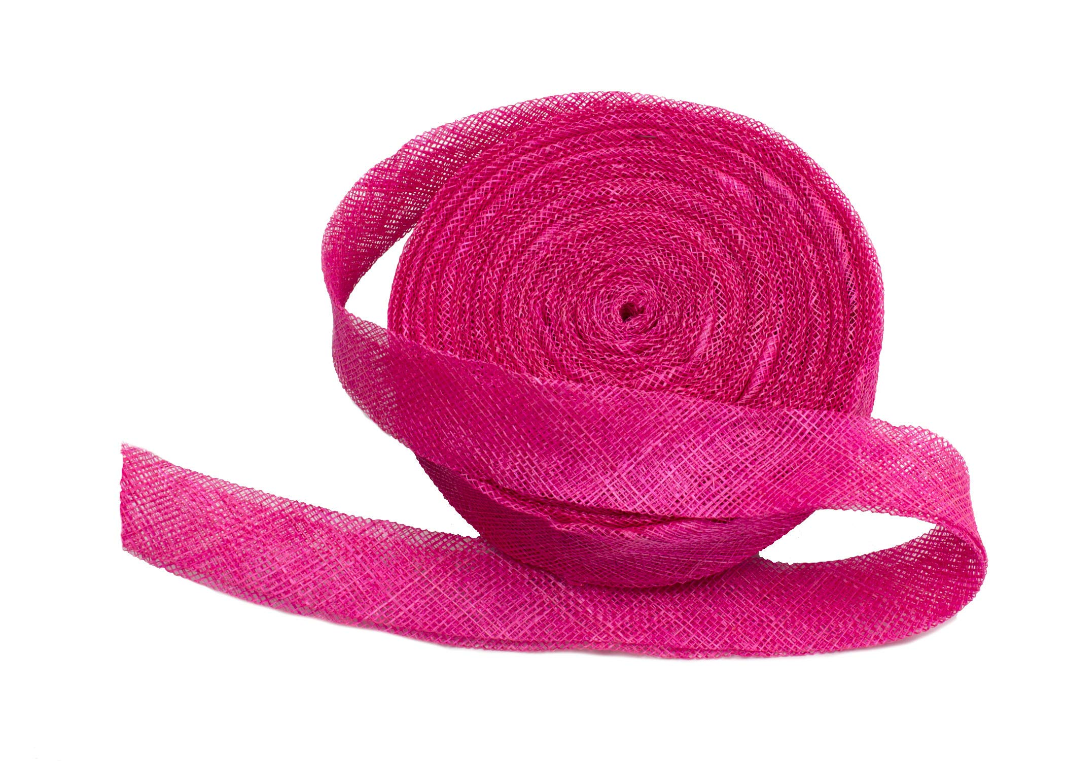 Sinamay Bias Binding Tape for Millinery 3 cm Wide - Hot Pink - 10 Meter Roll by Humboldt Haberdashery