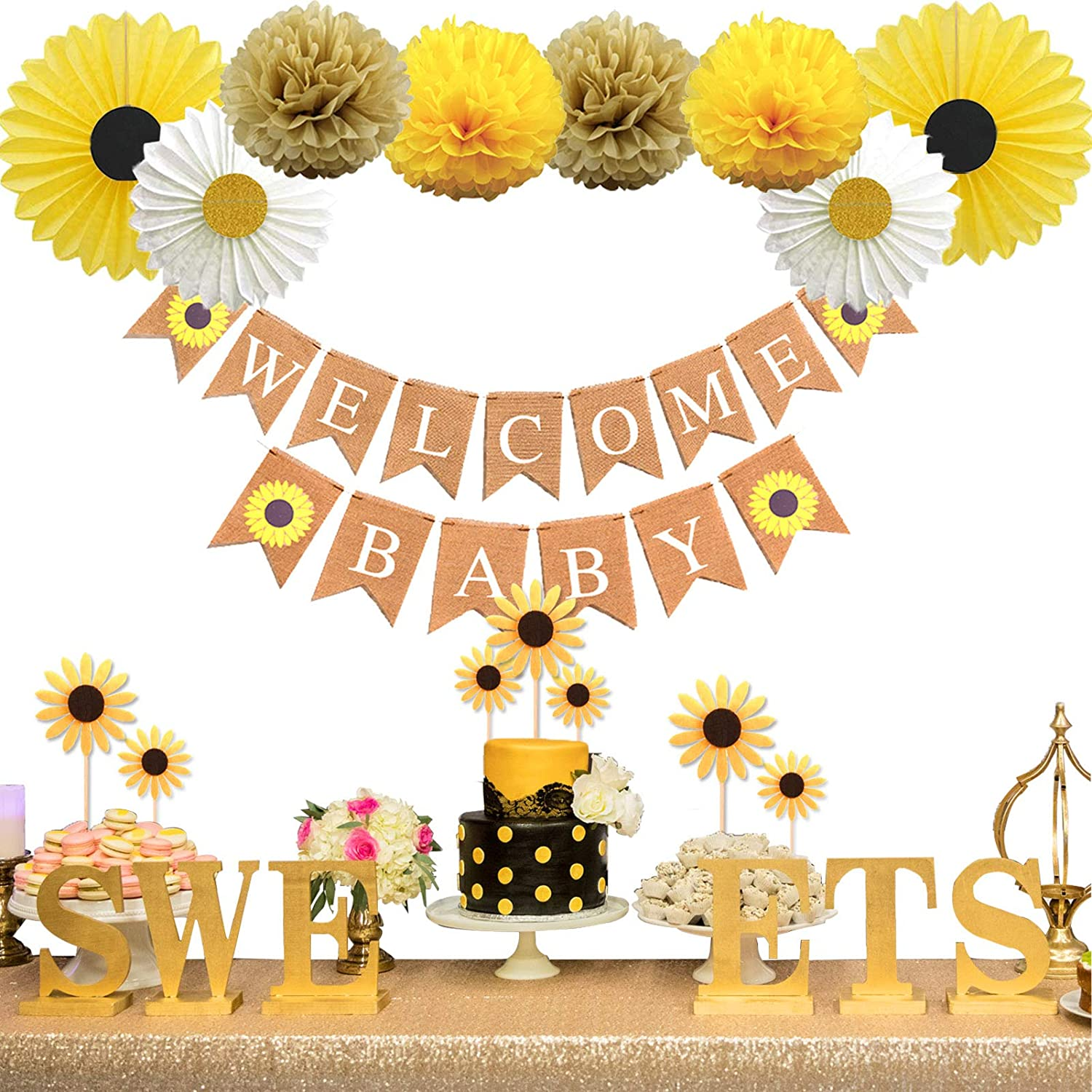 KeaParty Sunflower Baby Shower Party Decorations Supplies Kit, Sunflower Welcome Baby Banner, Yellow Sunflowers Cupcake Toppers, Tissue Paper Fans, Pom Poms