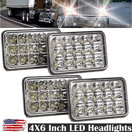 "DOT 4 4x6/"" 45W LED Headlights For Kenworth Peterbilt Freightliner Free Ship"
