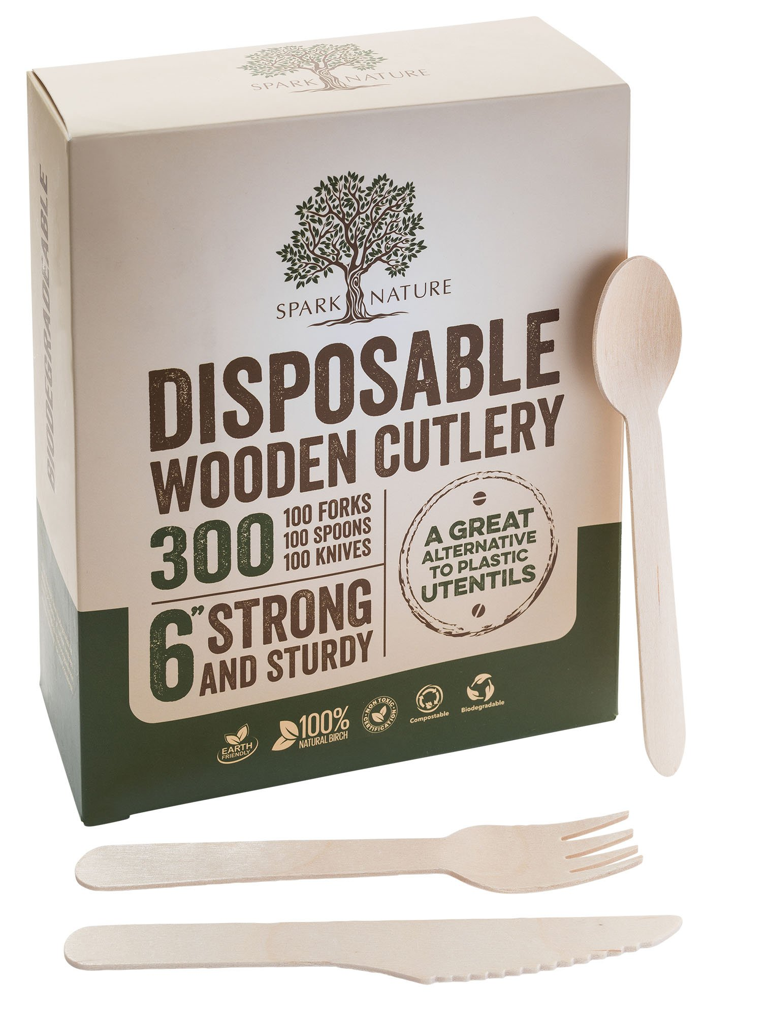 Wooden Silverware and Utensils | Biodegradable, Eco-Friendly, & Disposable Wood Cutlery Set | Wooden Cutlery | All Natural Wooden Forks, Spoons, and Knives | Sturdy Wooden Cutlery Set 300 pc, 6""