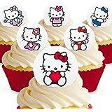 Cakeshop 12 x Vorgeschnittene und Essbare Hello Kitty Kuchen Topper (Tortenaufleger, Bedruckte Oblaten, Oblatenaufleger)