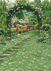 AOFOTO 6x8ft Wedding Arch Flower Photography Backdrop Romantic Garden Footpath Beautiful Spring Pergola Background Lovers Bride Girlfriend Artistic Portrait Photo Studio Props Vinyl Wallpaper Drape