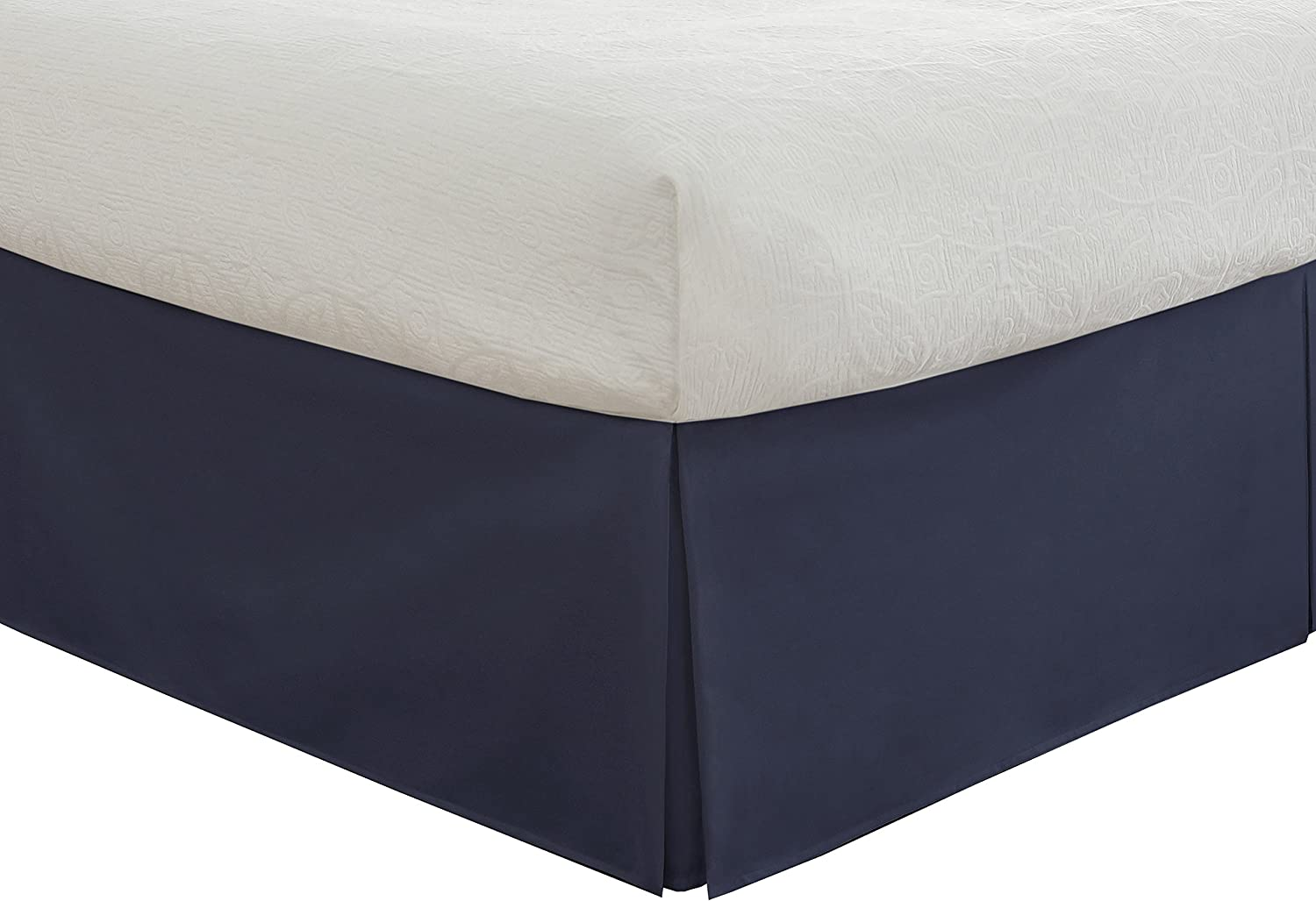 """Fresh Ideas Bedding Tailored Bedskirt, Classic 14"""" Drop Length, Pleated Styling, Twin, Navy"""