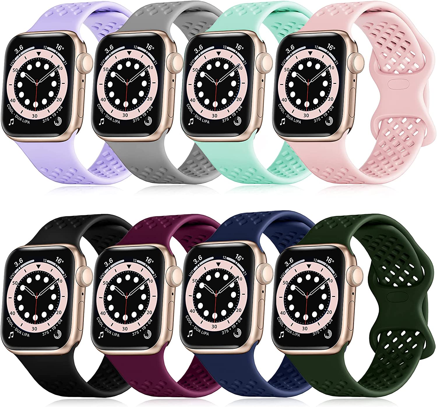 FAKIDOM [8-Pack] Sport Band Compatible with Apple Watch Bands 44mm 42mm 40mm 38mm for Women Men, Breathable Soft Silicone Wristbands, Strap Replacement for iWatch SE/Series 6/5/4/3/2/1(38/40-S)
