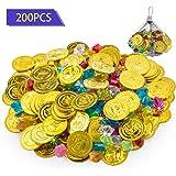 FORMIZON 100 Piezas de Monedas Doradas de Plástico de Pirata, 100 Piezas de Gemas Piratas, Monedas de Oro y Gemas Piratas del Tesoro Pirata para Fiestas Temáticas Piratas
