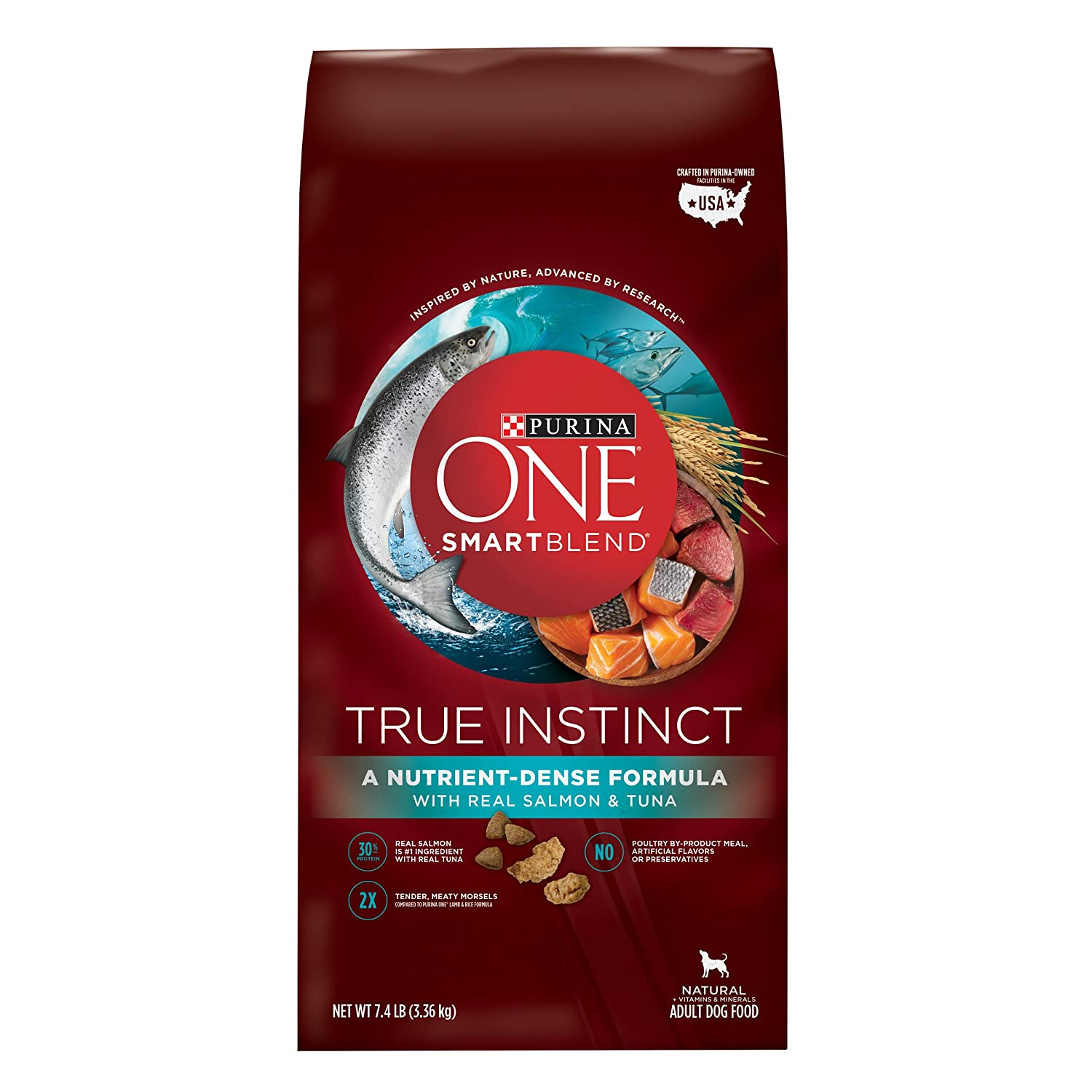 7.4 LB Purina ONE SmartBlend Dry Dog Food, True Instinct with Real Salmon & Tuna, 7.4-Pound Bag, Pack of 1