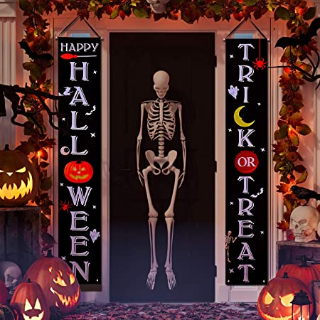 Joyjoz Halloween Dekoration Tur Halloween Hangendes Banner Trick Or Treat Fur Veranda Haustur Halloween Deko Im Freien Amazon De Kuche Haushalt