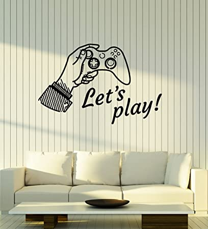 Amazon.com: Vinyl Wall Decal Let\'s Play Phrase Quote Video Games ...