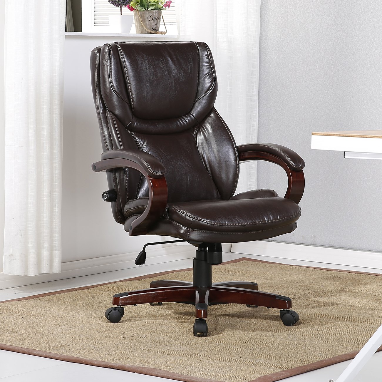 Belleze Leather Executive Office Chair w/Adjustable Lumbar Support Height Swivel Wood Armrest Base, Brown by Belleze