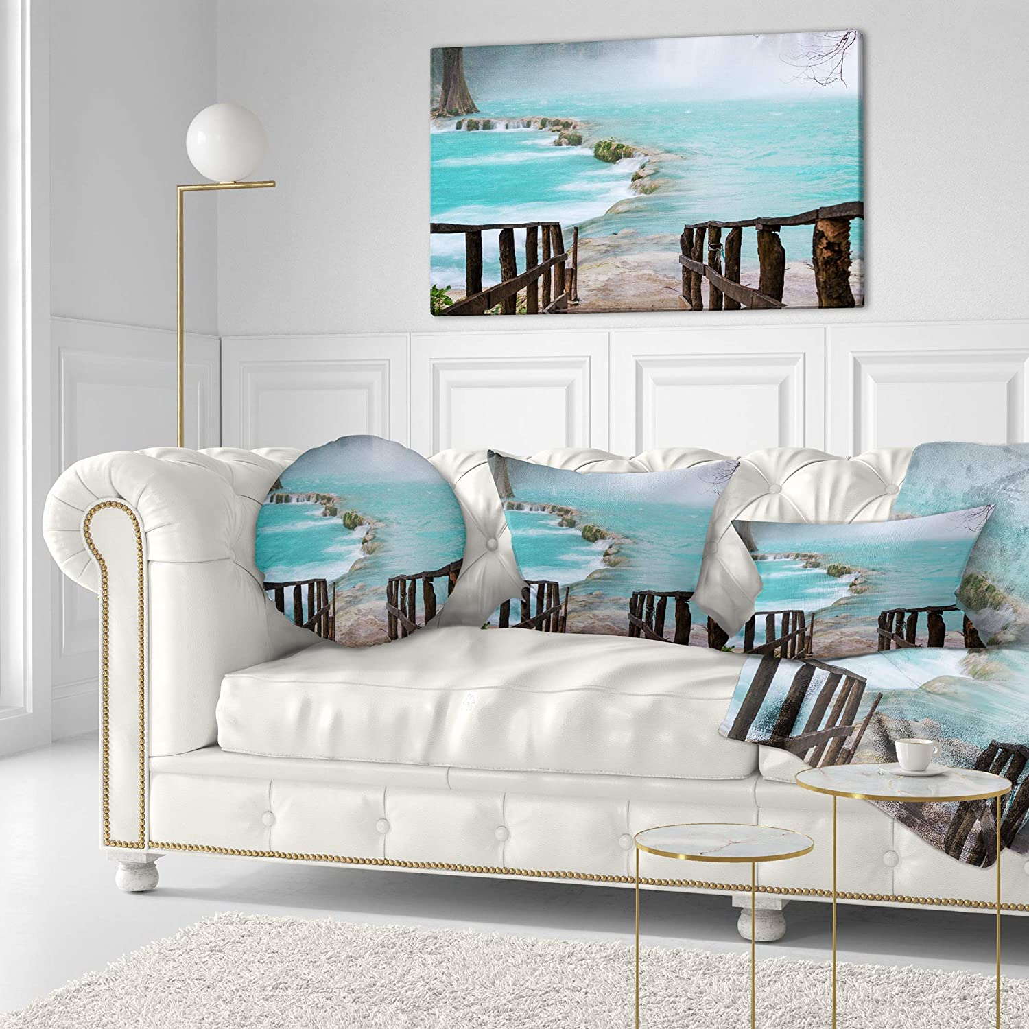 Designart CU12259-20-20-C Old Bridge into Mexico Waterfall Seashore Round Cushion Cover for Living Room Sofa Throw Pillow 20 Insert Printed On Both Side