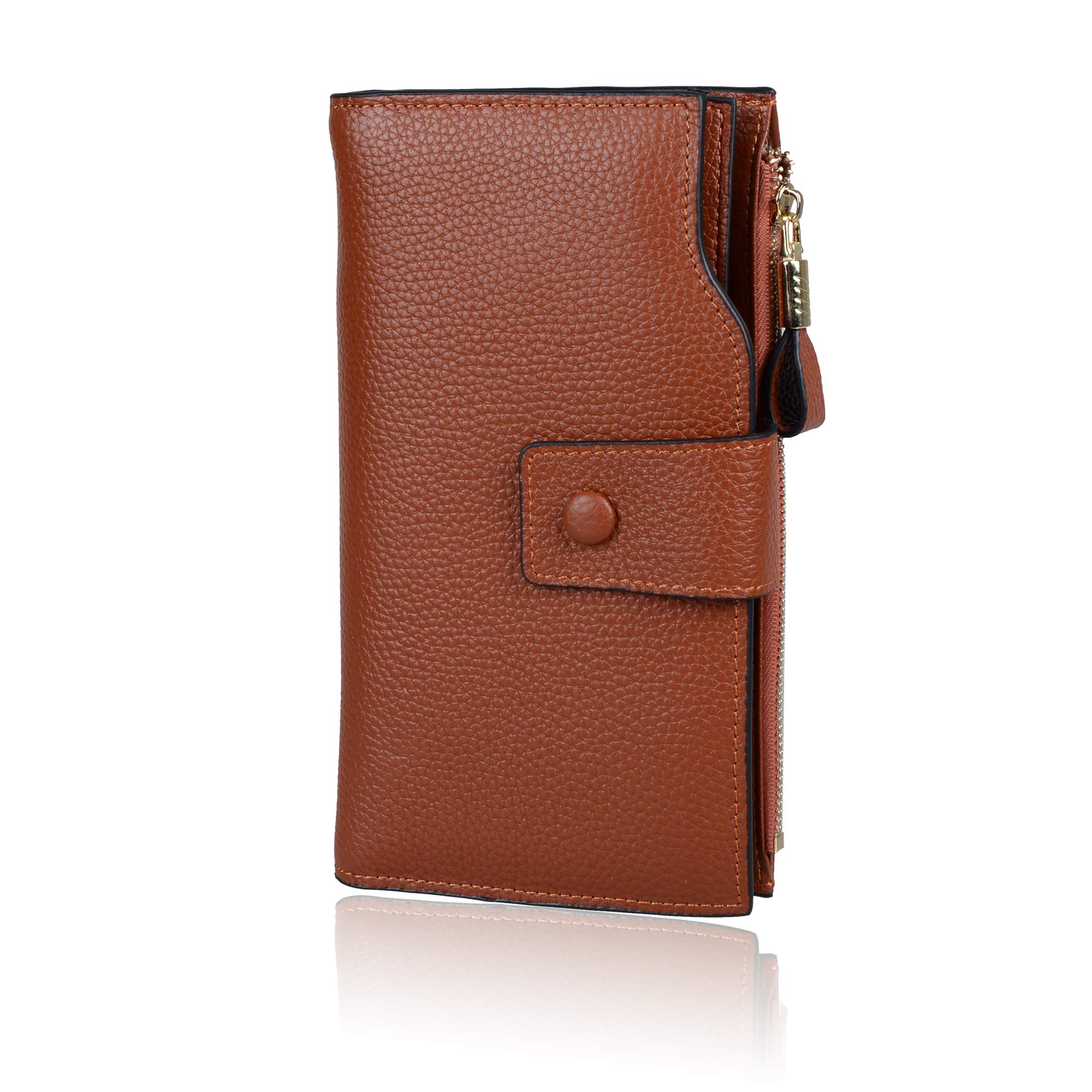 Befen Women's RFID Blocking Luxury Full Grain Genuine Leather Bifold Trifold Wallet Multi Card Organizer Holders for Ladies (Caramel Brown RFID Wallet Large)