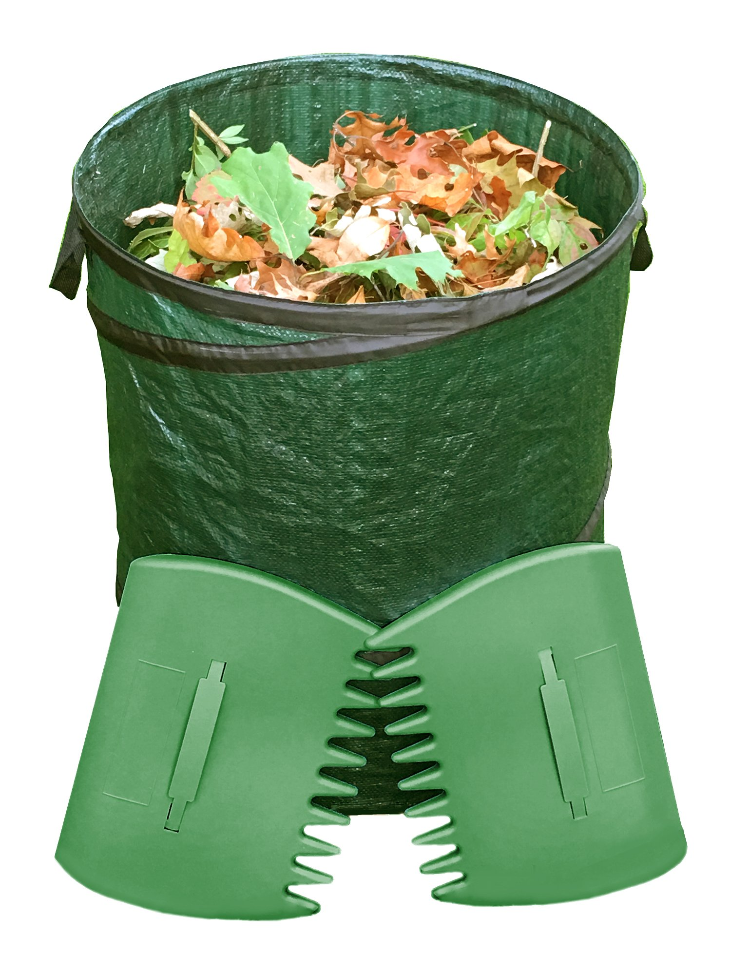Fern and Foliage Lawn Bags Pop Up Leaf Bag 2 Leaf Grabbers Scoops - Heavy Duty 32 Gallon Reusable Collapsible Garden Bag Yard Waste Container