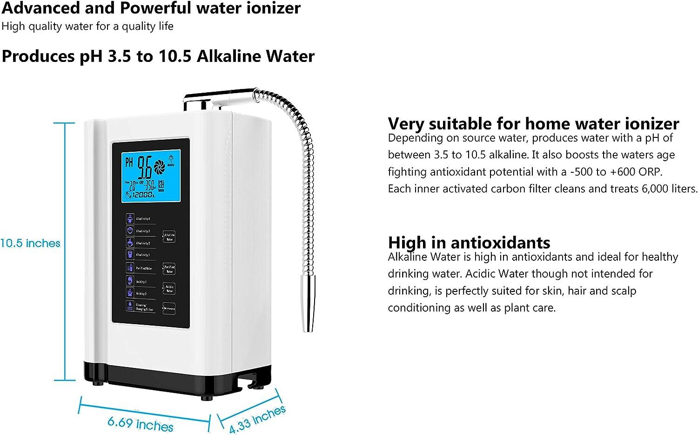 AlkaDrops EHM-729 - Ionizador de agua y purificador de agua, S-Voice/PH 3,5 – 10,5 alcalinas ácidas, máquina de agua ...
