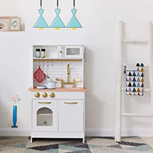 Teamson Kids Little Chef Boston Kids Play Kitchen, Toddler Pretend Play Set with Accessories, White/ Wood